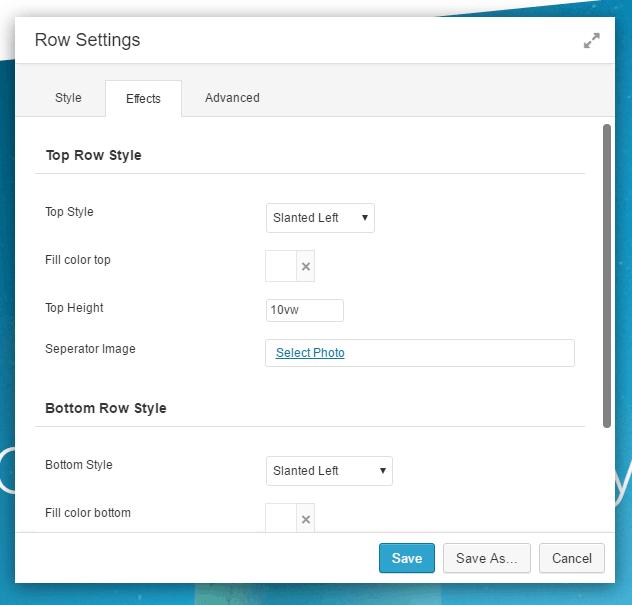 Row Styles Effect Settings